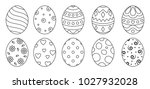 eggs set black style ioslated... | Shutterstock .eps vector #1027932028