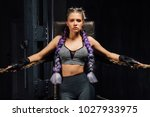sexy boxing girl stands leaned...   Shutterstock . vector #1027933975