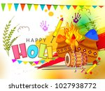 indian festival of happy holi... | Shutterstock .eps vector #1027938772