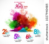 happy holi vector elements for ... | Shutterstock .eps vector #1027940485