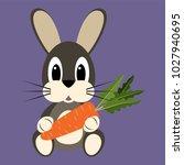 cartoon rabbit with carrot | Shutterstock .eps vector #1027940695