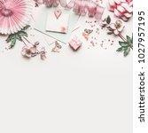 beautiful pastel pink work... | Shutterstock . vector #1027957195
