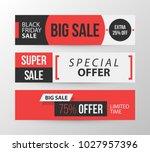 three horizontal black friday... | Shutterstock .eps vector #1027957396