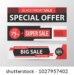 three horizontal black friday... | Shutterstock .eps vector #1027957402