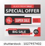 three horizontal black friday... | Shutterstock .eps vector #1027957402