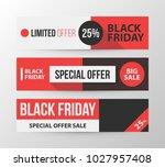 three horizontal black friday... | Shutterstock .eps vector #1027957408