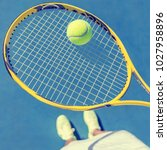 tennis player girl taking pov... | Shutterstock . vector #1027958896