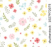 vector floral pattern in doodle ... | Shutterstock .eps vector #1027972075