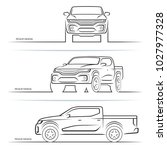 vector car silhouettes. front ... | Shutterstock .eps vector #1027977328