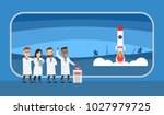 group of scientist launching a... | Shutterstock .eps vector #1027979725