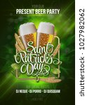 st. patrick's day poster. beer... | Shutterstock .eps vector #1027982062