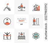 semi flat icons set of develop... | Shutterstock .eps vector #1027983592