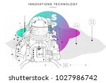 future technologies in cosmos... | Shutterstock .eps vector #1027986742