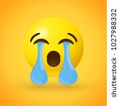 sad face emoji with tears... | Shutterstock .eps vector #1027988332