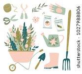 garden tool set. vector... | Shutterstock .eps vector #1027988806
