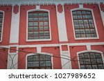 vintage style windows of an old ... | Shutterstock . vector #1027989652