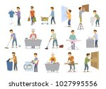 man at household activities set ... | Shutterstock .eps vector #1027995556