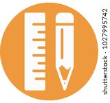 ruler and pencil glyph vector... | Shutterstock .eps vector #1027995742