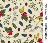 flat color floral spring... | Shutterstock .eps vector #1027996432