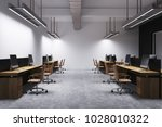modern office interior with... | Shutterstock . vector #1028010322