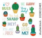 vector cacti and hand written... | Shutterstock .eps vector #1028012485