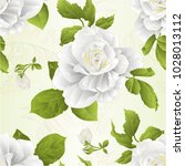 Stock vector seamless texture stem flower white rose and leaves vintage natural background vector illustration 1028013112