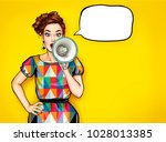 pop art girl with megaphone.... | Shutterstock . vector #1028013385