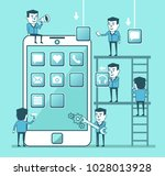 mobile app creation process.... | Shutterstock .eps vector #1028013928