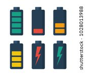 collection battery. set of... | Shutterstock .eps vector #1028013988