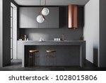 modern black and bronze kitchen ... | Shutterstock . vector #1028015806
