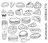 set of hand drawn food isolated ... | Shutterstock .eps vector #1028016772