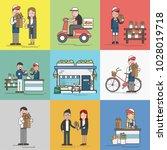 illustration of flower shop  | Shutterstock . vector #1028019718