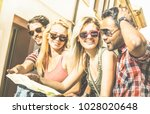 group of young hipster tourists ...   Shutterstock . vector #1028020648