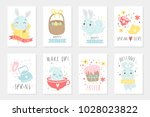 set of easter cards with cute... | Shutterstock .eps vector #1028023822