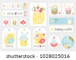 set of easter gift tags and... | Shutterstock .eps vector #1028025016