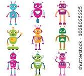robot vector characters  set of ... | Shutterstock .eps vector #1028025325