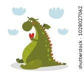 cartoon cute dragon character.   | Shutterstock .eps vector #1028027062