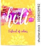 holi festival poster in yellow... | Shutterstock .eps vector #1028028982