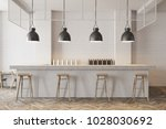 Stock photo white wall bar interior with a wooden floor a stone bar and wooden stools near it d rendering 1028030692