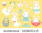 happy easter set with cute... | Shutterstock .eps vector #1028031115