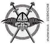 viking helmet  crossed viking... | Shutterstock .eps vector #1028042248
