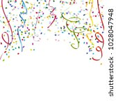 colored streamers and confetti... | Shutterstock .eps vector #1028047948
