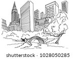 hand drawn sketch of central... | Shutterstock .eps vector #1028050285