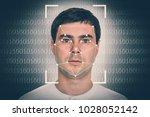 man face recognition  ...   Shutterstock . vector #1028052142