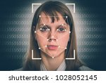 woman face recognition  ... | Shutterstock . vector #1028052145