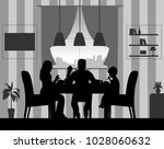 silhouette of a home scene were ... | Shutterstock .eps vector #1028060632