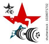 dumbbell and athlete symbol for ... | Shutterstock .eps vector #1028071732