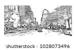 downtown of west side new york... | Shutterstock .eps vector #1028073496