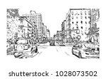 downtown of west side new york... | Shutterstock .eps vector #1028073502