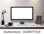 mockup poster in the interior ... | Shutterstock . vector #1028077315